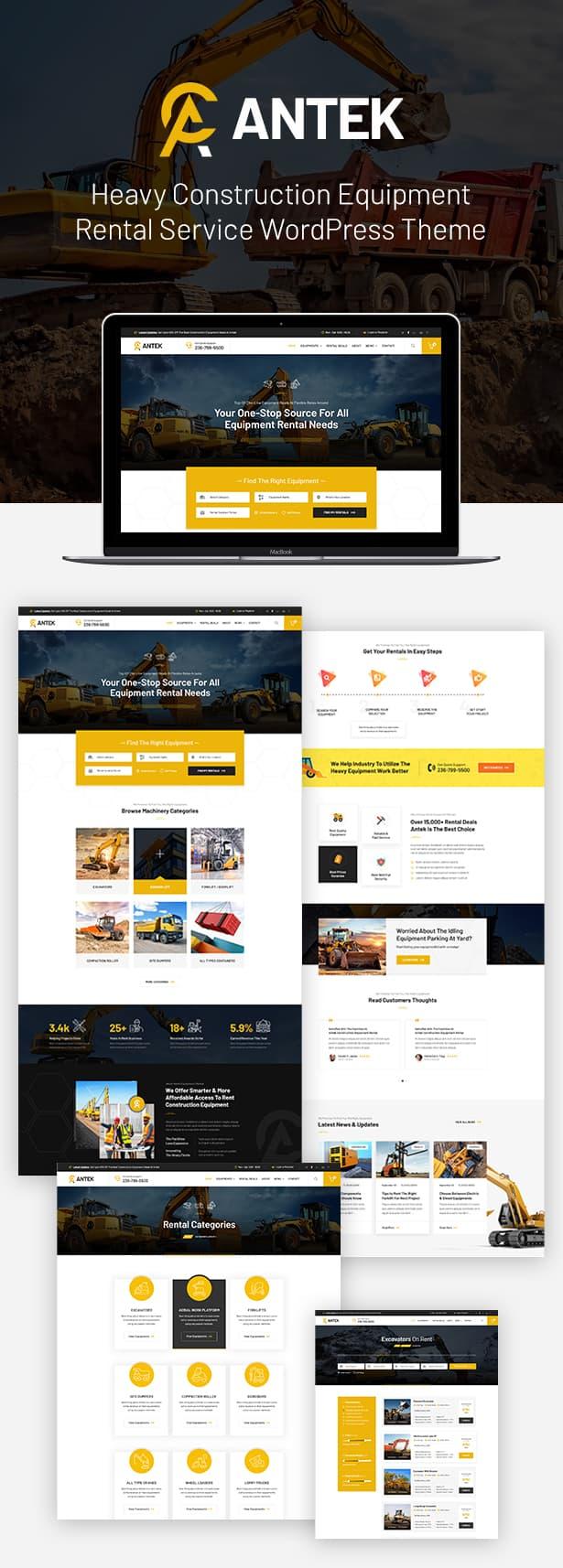 Antek - Construction And Heavy Equipment Rentals WordPress Theme