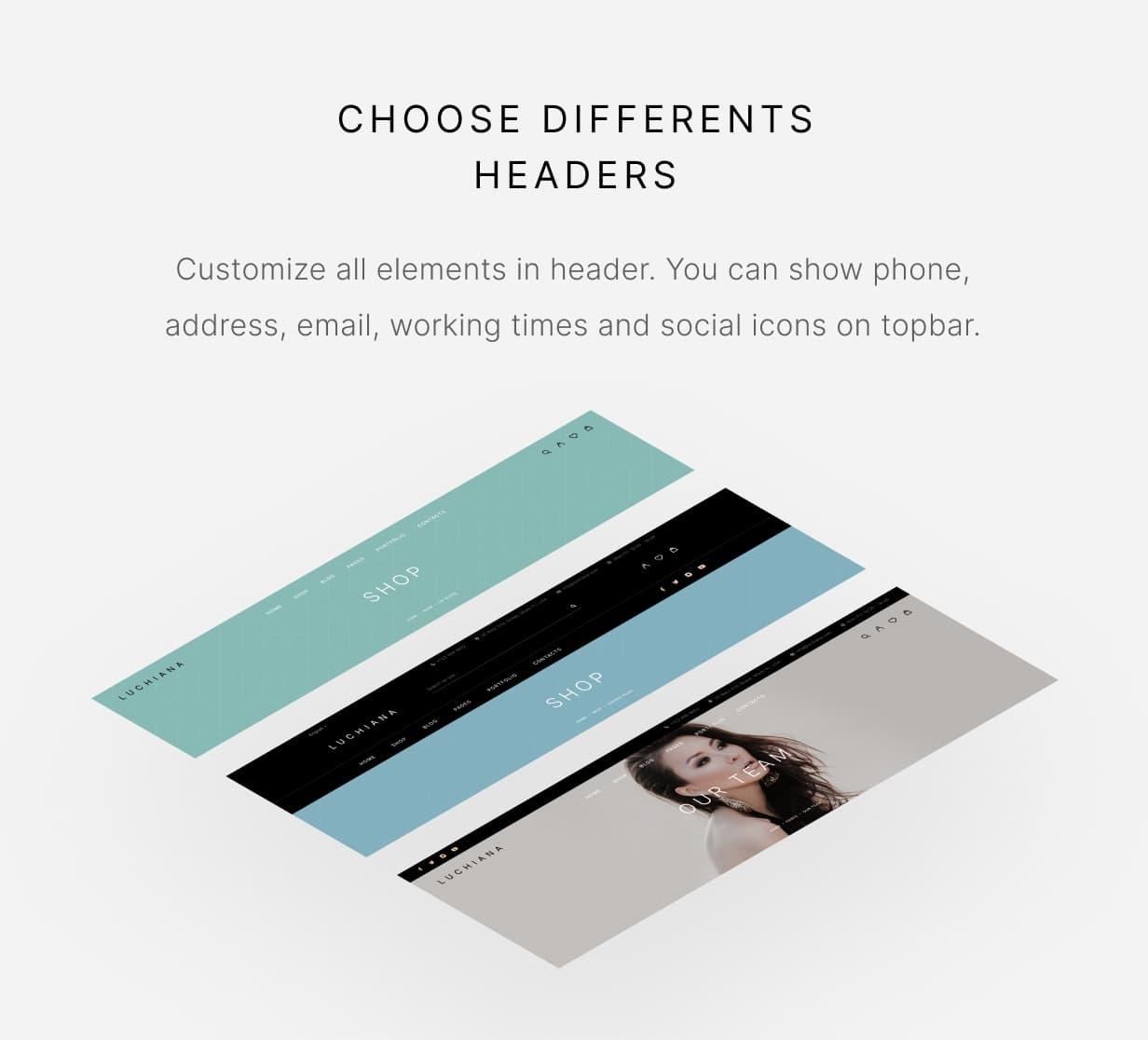Luchiana - Three types of header